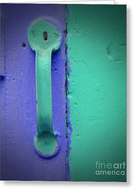 Becky Digital Art Greeting Cards - Purple and Green Doorknob Greeting Card by Becky Hayes