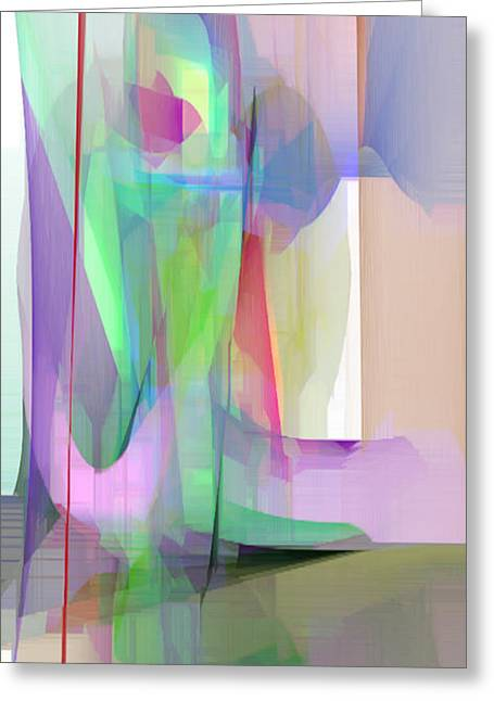 Shower Curtain Greeting Cards - Purple and Green Greeting Card by Rafael Salazar