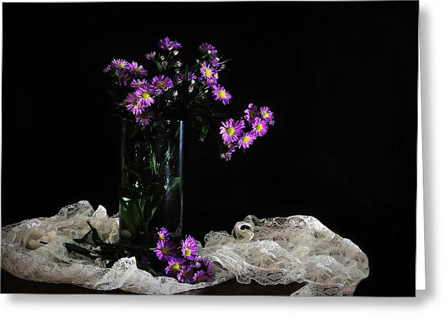 Vase Of Flowers Greeting Cards - Purple and Lace Greeting Card by Diana Angstadt