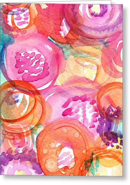 Big Mixed Media Greeting Cards - Purple and Orange Flowers Greeting Card by Linda Woods