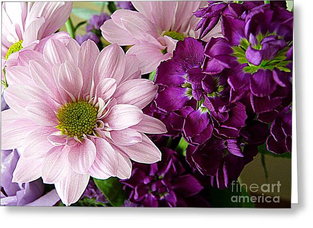 Purple And Pink Greeting Card by Avis  Noelle