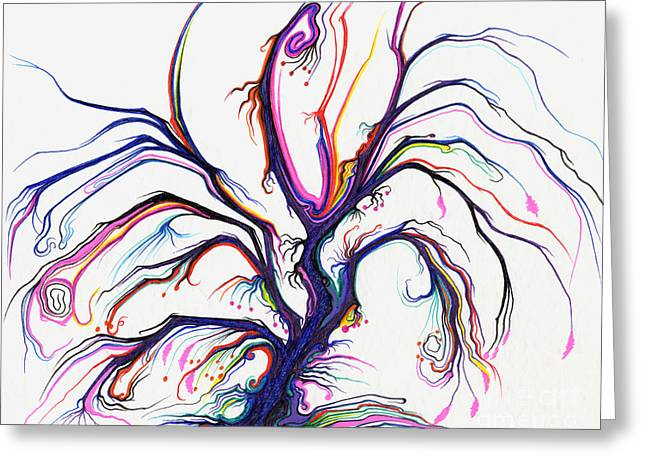 Bare Trees Drawings Greeting Cards - Purple and Pink Tree Greeting Card by Nina Kuriloff