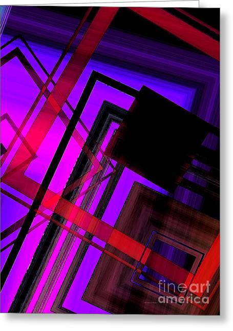 Transparency Geometric Greeting Cards - Purple and Red Art Greeting Card by Mario  Perez