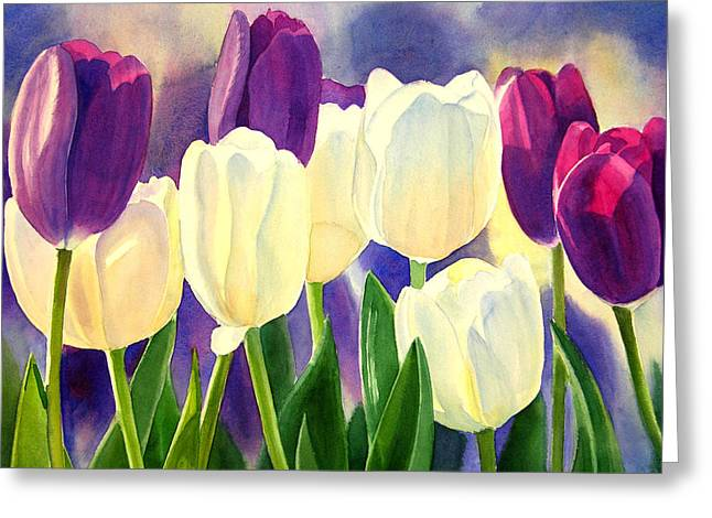Watercolour Paintings Greeting Cards - Purple and White Tulips Greeting Card by Sharon Freeman