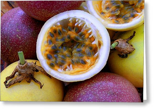 Purple And Yellow Passion Fruit Greeting Card by James Temple