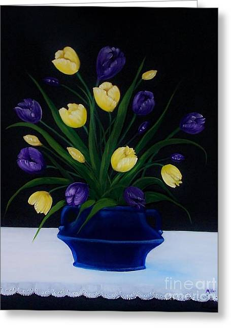 Purple And Yellow Tulips Greeting Card by Peggy Miller