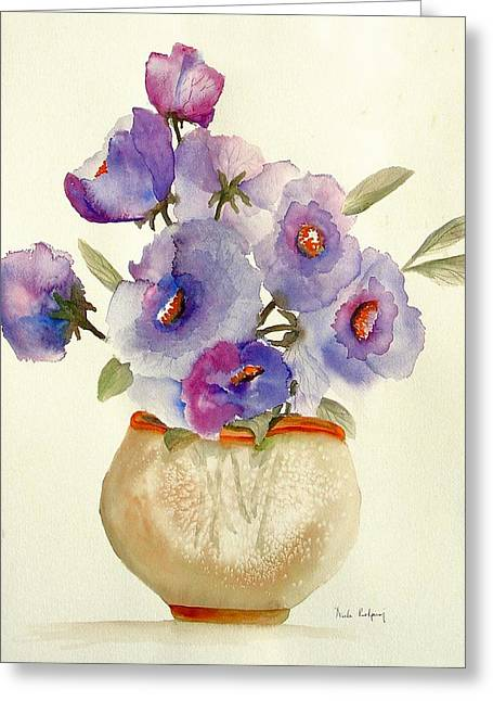 In Bloom Greeting Cards - Purple Anemones in a Vase Greeting Card by Neela Pushparaj