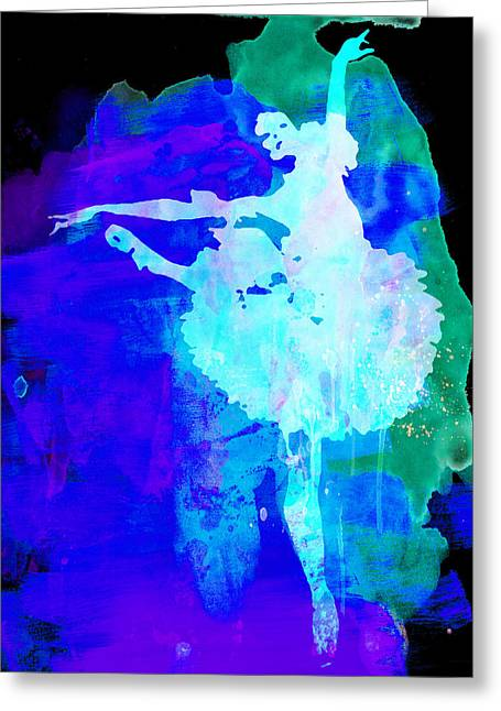 Ballerina Mixed Media Greeting Cards - Purple Ballerina Watercolor Greeting Card by Naxart Studio
