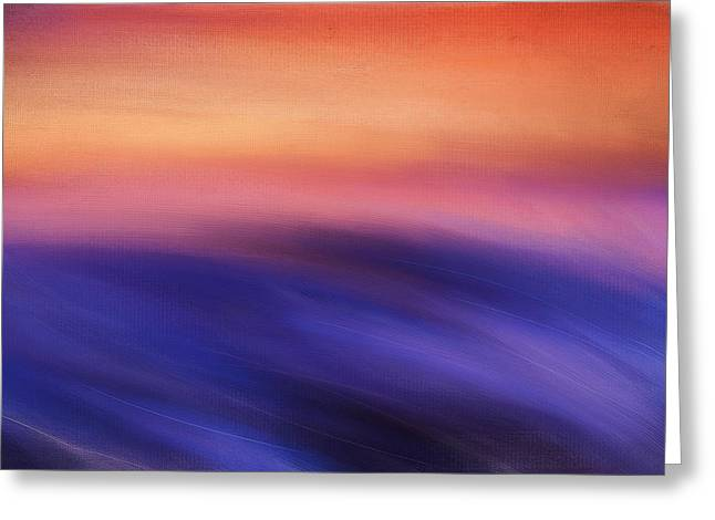 Abstract Seascape Art Greeting Cards - Purple Beauty Greeting Card by Lourry Legarde
