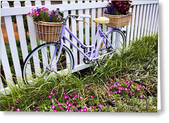 Purple Bicycle And Flowers Greeting Card by David Smith