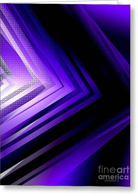 Transparency Geometric Greeting Cards - Purple Black and White Geometry Greeting Card by Mario  Perez