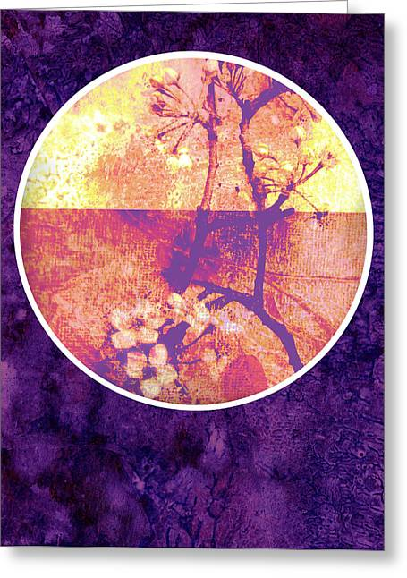 Pear Mixed Media Greeting Cards - Purple Blossom Greeting Card by Ann Powell