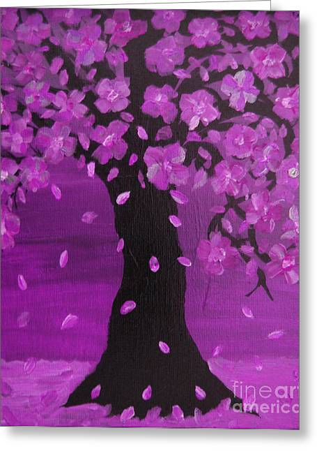 Enhanced Paintings Greeting Cards - Purple Blossom Tree Design Art Greeting Card by Adri Turner