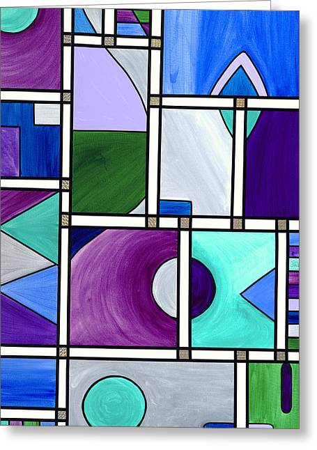 Psovart Paintings Greeting Cards - Purple -Blue -Green  Abstract 2 Greeting Card by Patty Vicknair