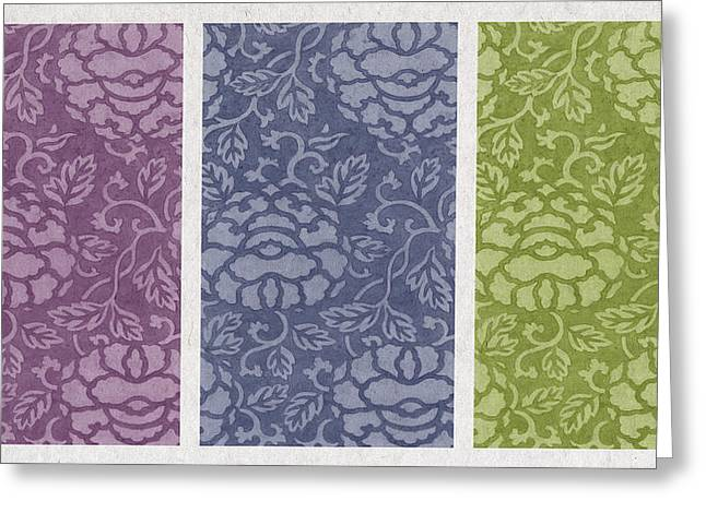 Art Decor Greeting Cards - Purple Blue Green Greeting Card by Aged Pixel