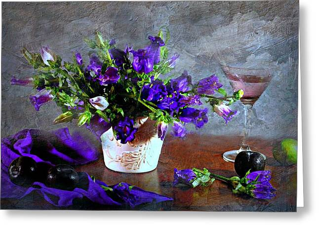 Bowl Of Flowers Greeting Cards - Purple Blues Greeting Card by Diana Angstadt