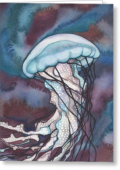 Watercolour Paintings Greeting Cards - Purple Bold Jellyfish Greeting Card by Tamara Phillips