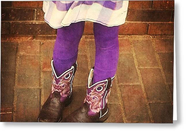 Boots Digital Art Greeting Cards - Purple Boots Greeting Card by Valerie Reeves