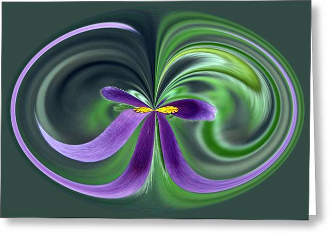 Abstract Digital Mixed Media Greeting Cards - Purple Bow Greeting Card by Jim Baker