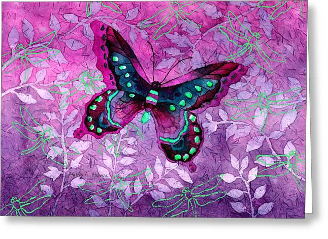 Note Cards Greeting Cards - Purple Butterfly Greeting Card by Hailey E Herrera