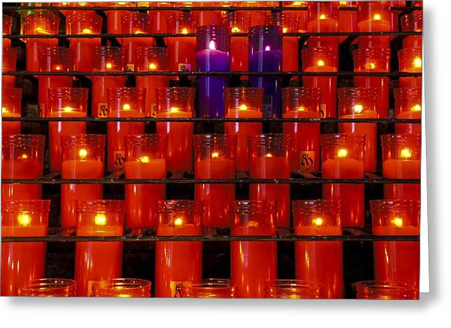 Hope At The End Of The Tunnel Greeting Cards - Purple Candles Greeting Card by Brian Kamprath