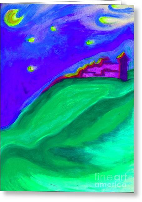 Surreal Landscape Pastels Greeting Cards - Purple Castle by jrr Greeting Card by First Star Art