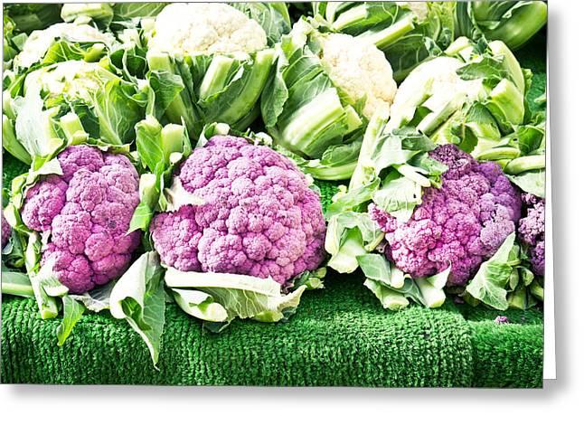 Purple Cauliflower Greeting Card by Tom Gowanlock