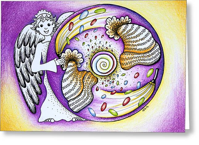 Helix Drawings Greeting Cards - Purple chakra mandala Greeting Card by Ida  Novotna