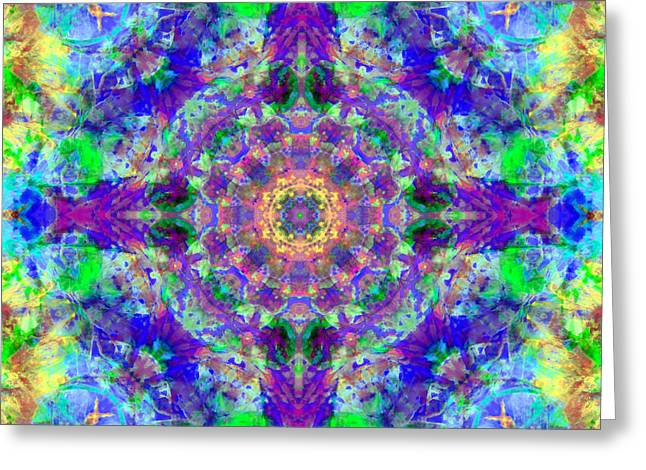 Chakra Rainbow Greeting Cards - Purple Chakra Mandala Greeting Card by Susan Bloom