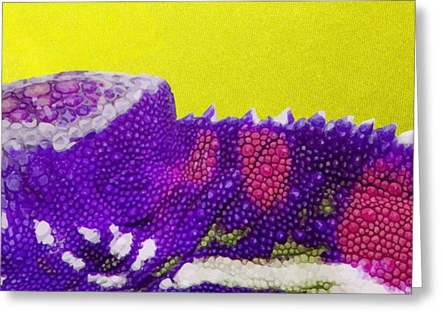 Ultra Modern Greeting Cards - Purple Chameleon on Yellow Greeting Card by Serge Averbukh