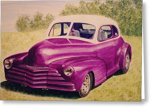 Photorealism Greeting Cards - Purple Chevrolet Greeting Card by Stacy C Bottoms