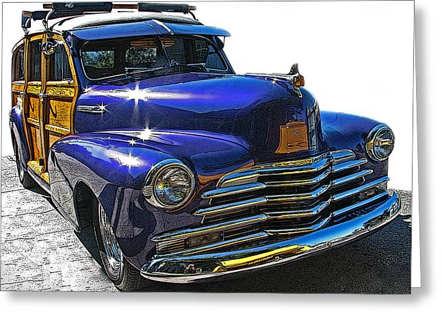 Samuel Sheats Greeting Cards - Purple Chevrolet Woody Greeting Card by Samuel Sheats