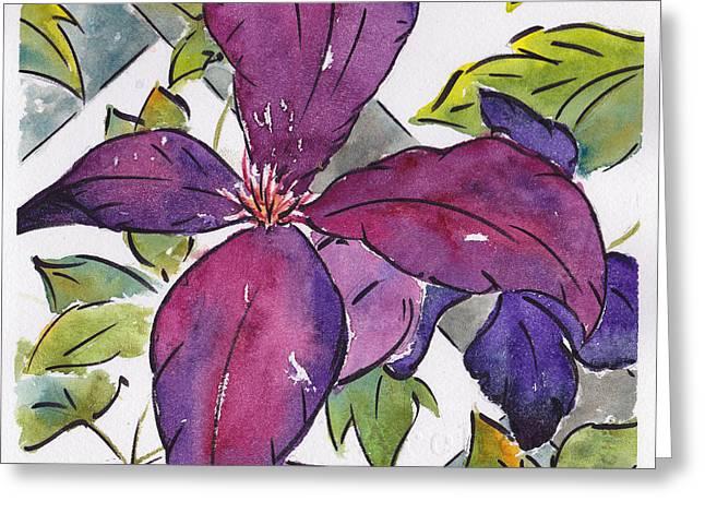 Trellis Greeting Cards - Purple Clematis Greeting Card by Pat Katz