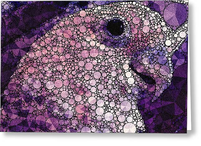 Surreal Geometric Greeting Cards - Purple Cockatoo Greeting Card by Susan Maxwell Schmidt