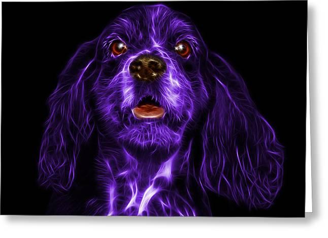 Spaniel Mixed Media Greeting Cards - Purple Cocker Spaniel Pop Art - 8249 - BB Greeting Card by James Ahn