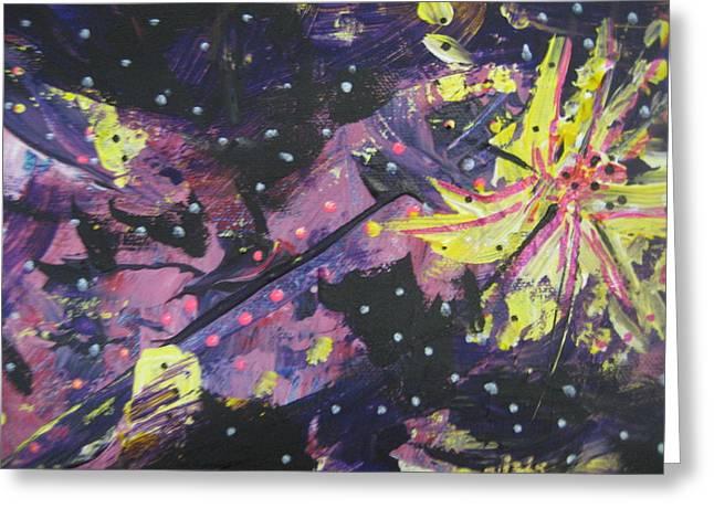Purple Color Blast Greeting Card by Dotti Hannum