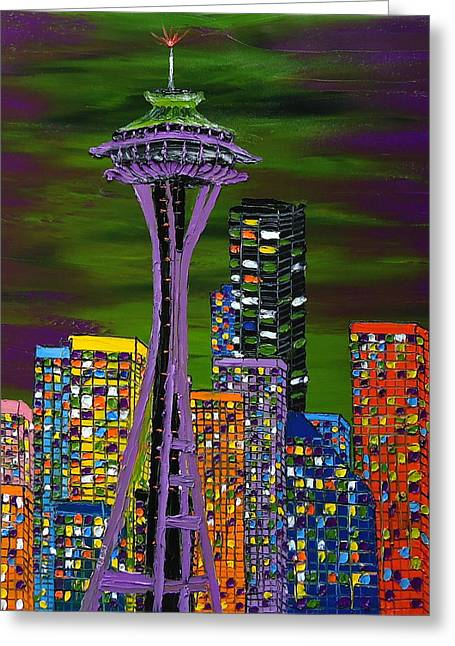 Microsoft. Paintings Greeting Cards - Purple Colors Of Emerald City Greeting Card by James Dunbar