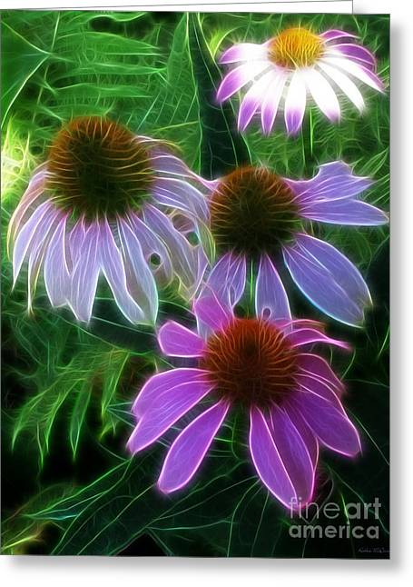 Abstracted Coneflowers Greeting Cards - Purple Coneflower Echinacea Greeting Card by Kathie McCurdy