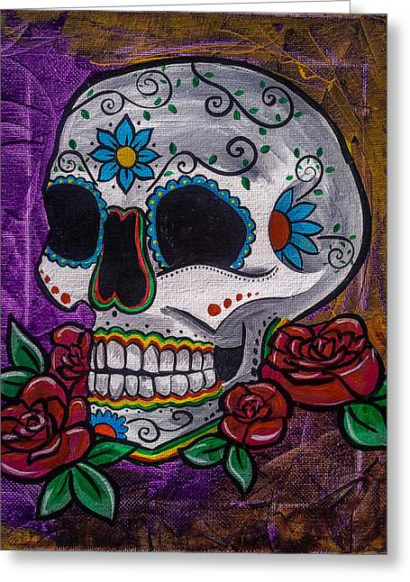 Marigold Festival Greeting Cards - Purple Day of the Dead Skull Greeting Card by Lovejoy Creations