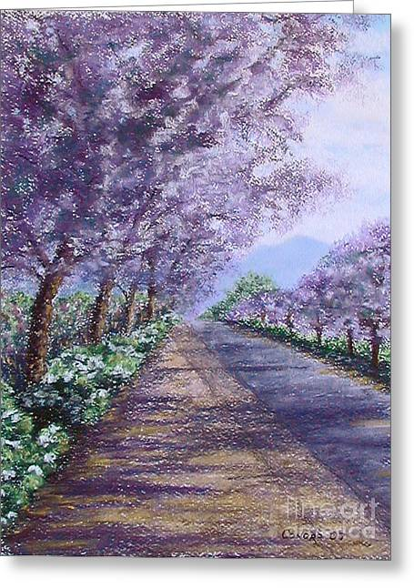 Vineyard Landscape Pastels Greeting Cards - Purple Defiance - STOLEN Greeting Card by Stanza Widen