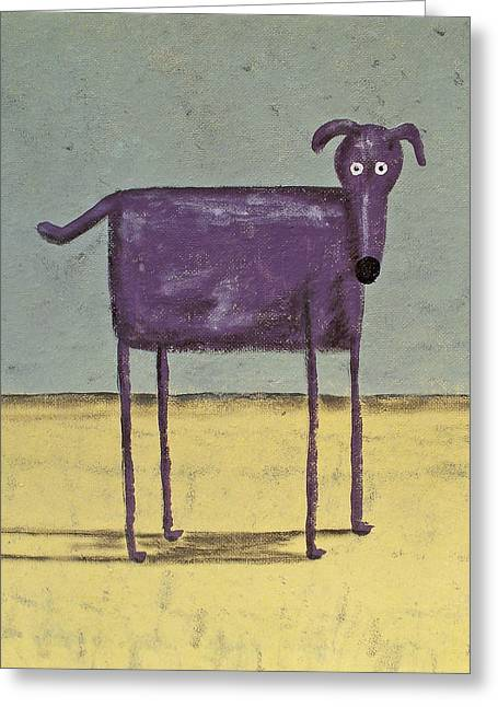 Bright Art Of Dogs Greeting Cards - Purple Dog Greeting Card by Dan Engh