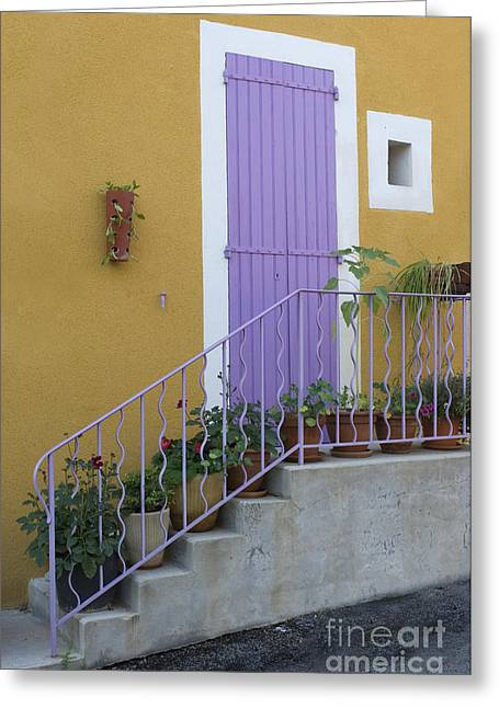 French Doors Greeting Cards - Purple Door in France Greeting Card by John Shaw