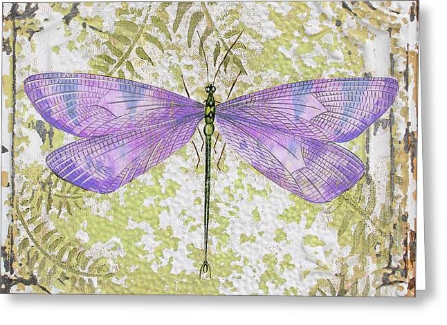 Metal Dragonfly Greeting Cards - Purple Dragonfly on Vintage Tin Greeting Card by Jean Plout