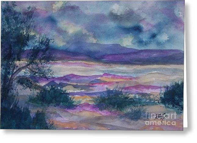 Peaches Corner Greeting Cards - Purple Dusk Settles on the Painted Desert Greeting Card by Ellen Levinson