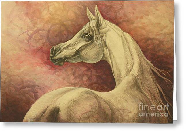 Horses Paintings Greeting Cards - Purple Emotion Greeting Card by Silvana Gabudean