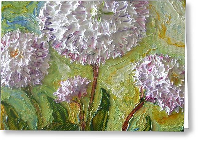 Lancaster Fine Arts Greeting Cards - Purple English Daisy Greeting Card by Paris Wyatt Llanso