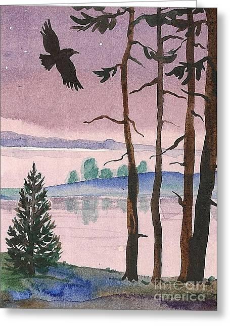 Ryta Greeting Cards - Purple Evening Greeting Card by Margaryta Yermolayeva