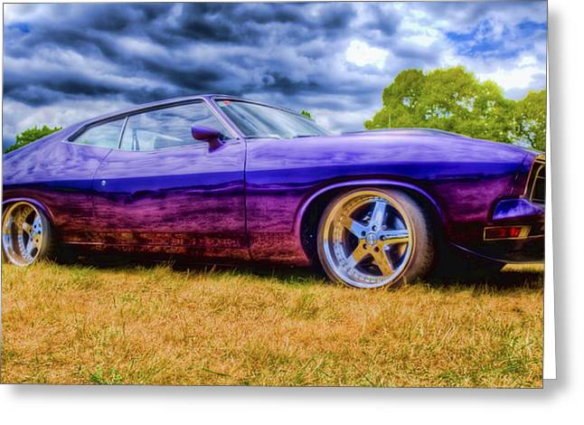 Ford Hotrod Greeting Cards - Purple Falcon Coupe Greeting Card by Phil