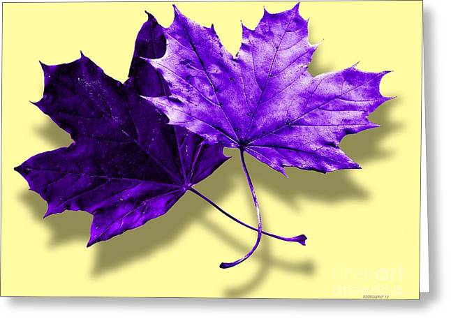 Digital Greeting Cards - Purple and Yellow Fall Leaves for Interior Decoration Greeting Card by Mario  Perez