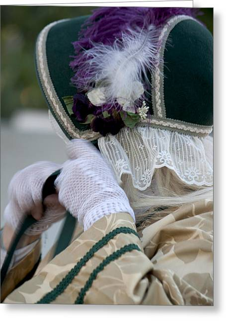 Re-enact Greeting Cards - Purple Feather Hat Greeting Card by Ivete Basso